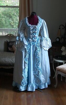Blue silk and satin Marie Antoinette Victorian inspired rococo costume dress