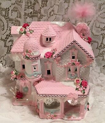 Shabby Cottage Chic Lighted Christmas Village House