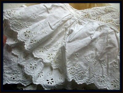 Antique Victorian Edwardian Fine Cotton Flower Eyelet Ruffle Flounce Lace Trim