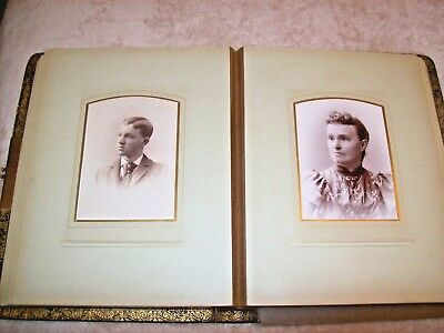 Antique Leather Photo Album~17 Pages Filled with Old Photos