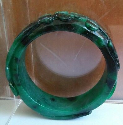 China Green Jadeite Jade Carved Flowers bracelet