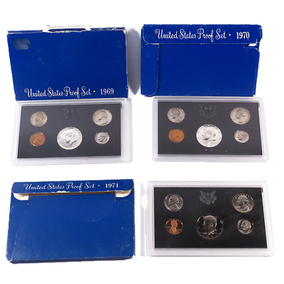 Lot of 3 - 1969-1971 US Proof Sets
