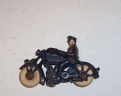 *CAST IRON MOTORCYCLE COP* C.Early 1900's- Painted- Hard rubber wheels- NICE