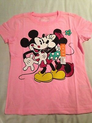 Disney Mickey and Minnie Mouse Girls  Pink T-Shirt Size M (7-8)