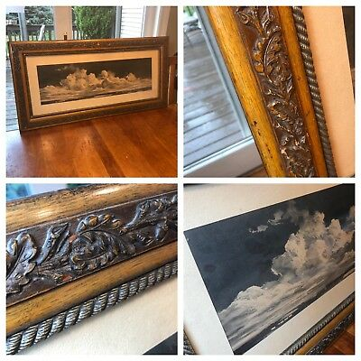 Antique Large Hand Carved Picture Frame - Leaves/Acorn - 37 1/2 x 18 - Stunning!