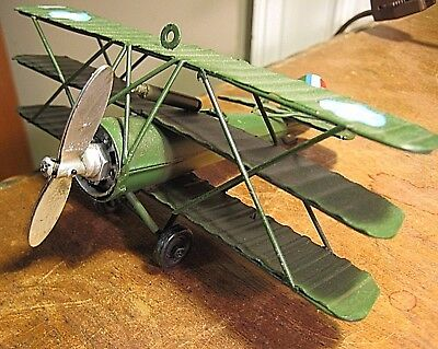 Vintage Style Metal Tri-Plane Collector Military Aircraft Decor Model Airplane