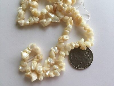 """22"""" Strand Vintage 8-12mm Off White Natural Shell Nuggets / Chips Beads"""