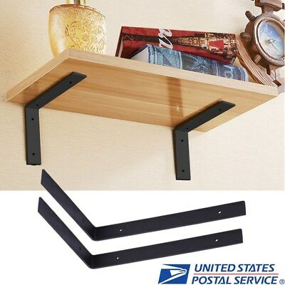 1 Pair Wall Mounted Shelf Storage Shelves Bracket L Shaped Support Heavy Duty