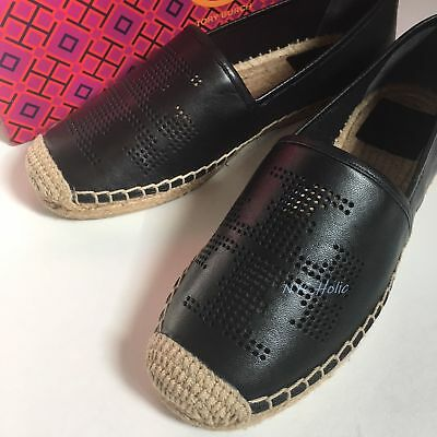 879fbe630c2 New Tory Burch Shoes Weston Flat Espadrille Nappa Leather Black 50966