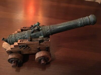 Antique Bronze Cannon with Wooden Cart - Very Ornate Bronze Barrel