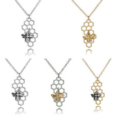 1pc mode Nid d'abeille honey bee reine insecte nature charme collier pendentif