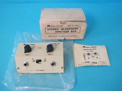 Nos Midland 21-026 Stereo Headphone Junction Box 2 Channel New In Box Vintage