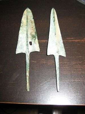 Two Ancient Bronze Greek Arrowheads