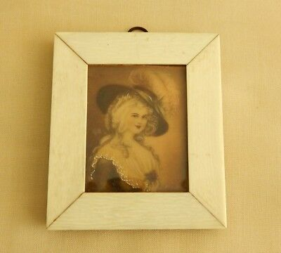 Vintage Hand Painted Miniature  Woman Fancy Clothes Small Bone Frame