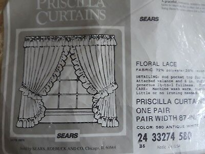 Vtg 2 PAIR Sears Roebuck Ivory Lace Priscilla Curtains 87x82 8 Pc NEW