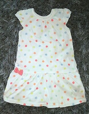 Baby Girls White Spotty Spotted Soft Frill Dress 12-18 Months