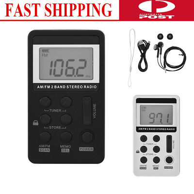 Portable Digital LCD FM/AM 2 Band Stereo Radio Mini Pocket Receiver + Earphone