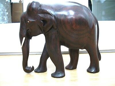 Antique Indian  Hand Carved Wooden Elephant