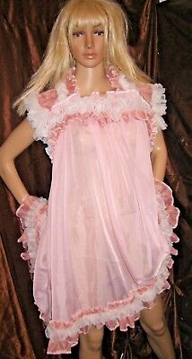 Prissy Sissy Maid Adult Baby CD/TV Pink Sheer Baby Doll Night Dress