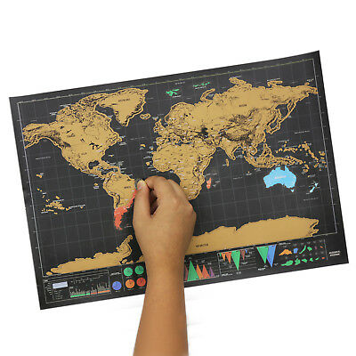 Black Gold Deluxe Scratch Off World Map Poster Journal Log Mini Map Of The World
