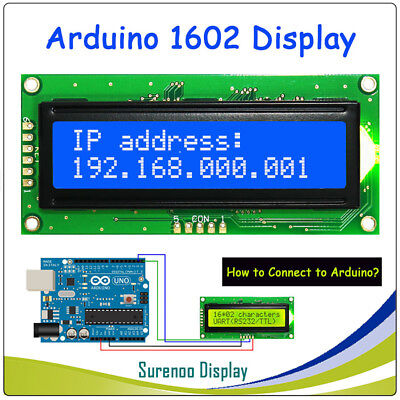 UART RS232 Serial 1602 162 16*2 Character LCD Module Display LCM For Arduino
