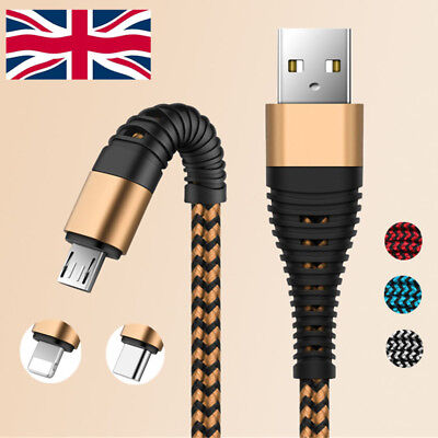 USB Cable For iPhone 7 6 5 Plus Metal Braided 1M 2M 3M Lightning Fast Charger UK
