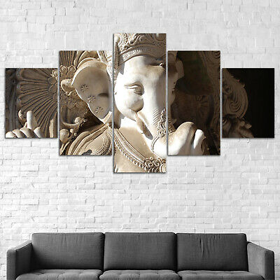 Hindu god Ganesha Sculpture Canvas Print Painting Framed Home Decor Wall Art 5P