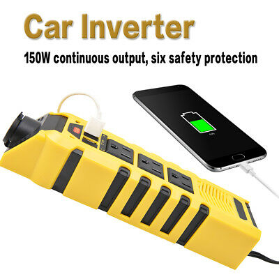 Car DC 12V to AC 110V Power Inverter  Converter Charger With 3 Outlets and 2 USB