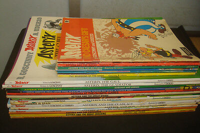 Set of 21 Paperback Asterix Books, Mixed condition, Paperbacks