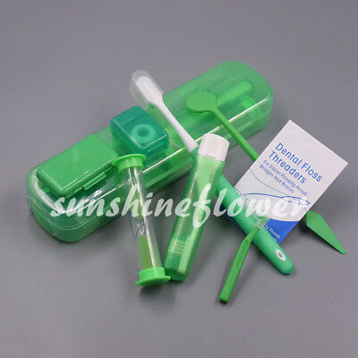 Dental Orthodontic Hygiene Interdental Teeth Brush Tie Floss Mirror Wax Kit