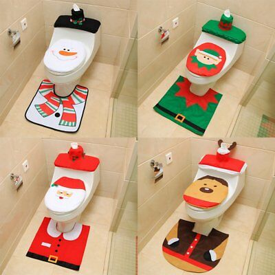 3Pcs Christmas Decorations Elf Deer Santa Claus Toilet Seat Cover Ornament CU