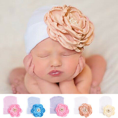 Baby Boy Girl Infant Newborn Warm Beanie For Photo Cotton Bow Cap Turban Hat New