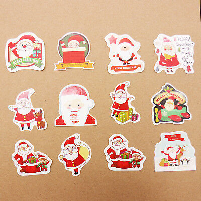 38/48pcs Christmas Santa Claus Paper Stickers Tags Labels Gifts Wrap Xmas Decor