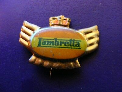LAMBRETTA motor-scooter ...very old tinplate pin badge for lapel,hat ..Italy(D).