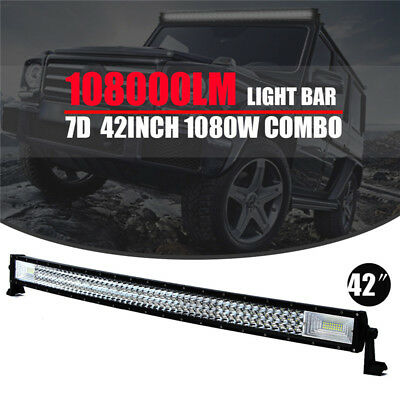 42'' INCH CURVED LED WORK LIGHT BAR FLOOD SPOT COMBO TRI-ROW OFFROAD 4WD 4x4 7D