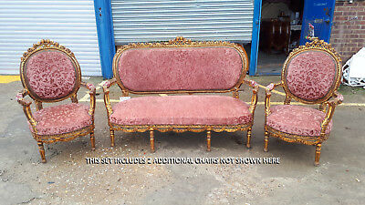 Set Of 1 Gilded Sofa And 2 Gilded Armchairs In The French Antique Style - 628
