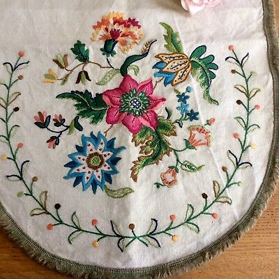 Stunning Hand Embroidered Chair Back Cover Vintage Linen Panel Jacobean Style