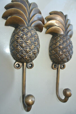 "2 large PINEAPPLE COAT HOOKS solid age brass vintage old style 7"" hook beach B"