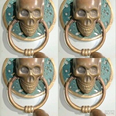 4 used SKULL handle KNOCKER PULL solid BRASS green old style DOOR 11 cm B