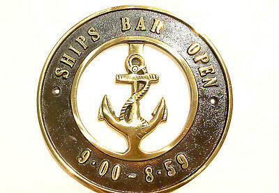 "solid BRASS SIGN Ships Bar Open 6.1/2 "" ship Anchor funny decor screwsl heavy B"