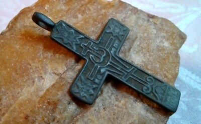 "RARE 17-18th CENT. ""OLD BELIEVERS"" ORTHODOX CROSS WITH TSATA AND 8-POINTED STARS"