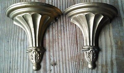 Vintage Pair of HODA Cast Metal Wall Shelves Florentine Hollywood Regency