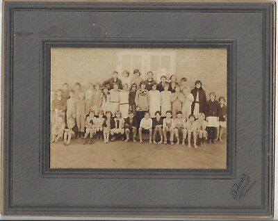 1910-20 Cardboard Class Photo From Gonzales Texas Showing Barefoot Children