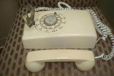 Vintage Rotary Wall Phone Itt Light Cream Or Off White Color Very Nice Condition