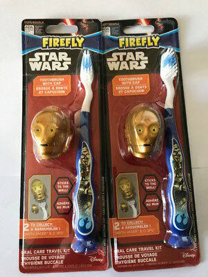 ** 2 X Star Wars C-3Po Toothbrush With Cap New ** Oral Care Travel Kit Kids