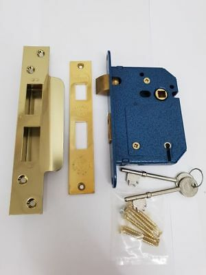 "76mm 3"" 5 LEVER SASH LOCK BS BRITISH STANDARD POLISHED BRASS 2 KEYS - NEW"