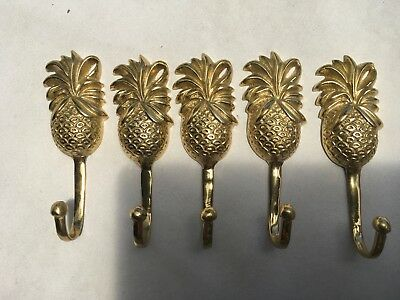 5 small PINEAPPLE BRASS HOOK COAT WALL MOUNT HANG old style 12cm polished B