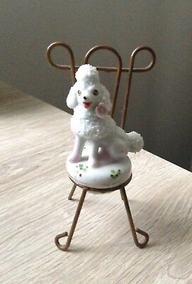 Vintage White Spaghetti Poodle w/ Pink Flower on Wire Chair Japan So Cute!!