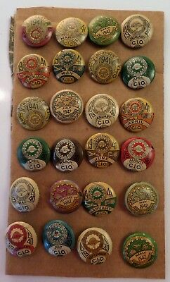 Lot (24) Vintage 1940's U.A.W. C.I.O. Union Workers Pin Back Button