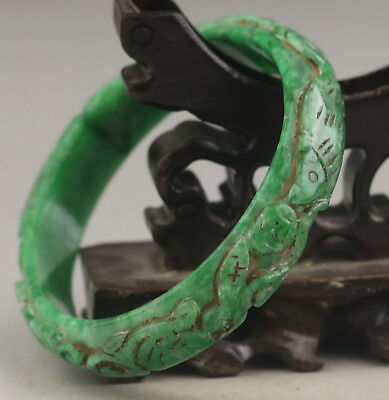 China old green jade bracelet hand carved dragon and flower bangle NO.E550